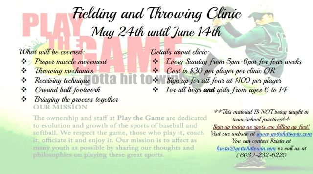 Fielding-Throwing Clinic May-June 2015